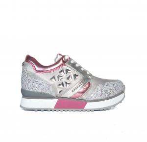 Sneaker argento/rosa con pietre Apepazza