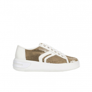 Sneaker bianca con pailletes oro Geox