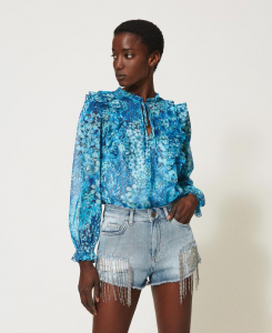 SHOPPING ON LINE TWINSET MILANO SHORTS IN JEANS CON FRANGE E CASTONI NEW COLLECTION WOMEN'S SPRING SUMMER 2021