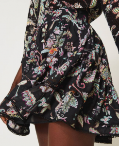 SHOPPING ON LINE TWINSET MILANO MINIGONNA IN MUSSOLA CON STAMPA A FIORI NEW COLLECTION WOMEN'S SPRING SUMMER 2021