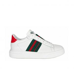 Slip on bianco con fascia verde/rossa Stokton