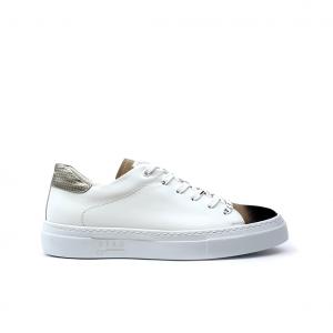 Sneaker bianca/cuoio Stau