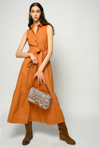 SHOPPING ON LINE PINKO CHEMISIER LUNGO IN POPELINE SFRONTATO 2 NEW COLLECTION WOMEN'S SPRING SUMMER 2021