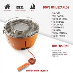 INSTAGRILL GRILL DA TAVOLO SENZA FUMO PORTATILE ARANCIO CLASSE ITALY