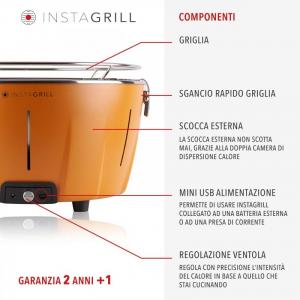 INSTAGRILL PAK GRILL PORTATILE SENZA FUMO CON CARBONE E BIOETANOLO INCLUSI CLASSE ITALY
