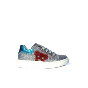 Sneaker argento con topolino Barque