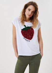LIU JO JEANS WA1175J5003T9590 T-shirt con paillettes fragola