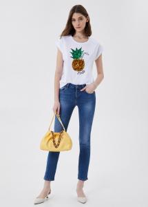 LIU JO JEANS WA1175J5003T9589 T-shirt con paillettes ananas