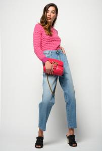 Jeans Flexi Maddie mom-fit con elast in vita Pinko