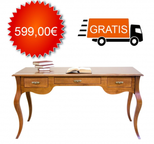 Mesa de despacho en estilo Luis Felipe de artesanado cm 130 - oferta
