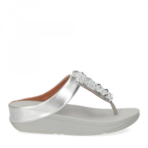 Fitflop Fino Sequin toe thongs silver-2
