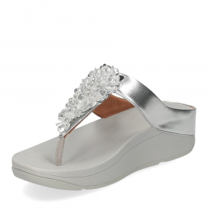 Fitflop Fino Sequin toe thongs silver-4