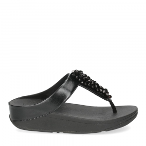 Fitflop Fino Sequin toe thongs all black-2