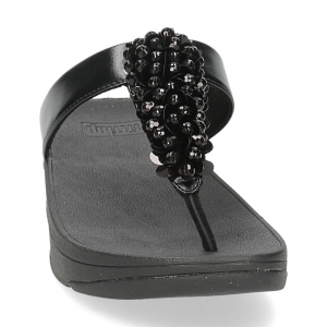 Fitflop Fino Sequin toe thongs all black-3