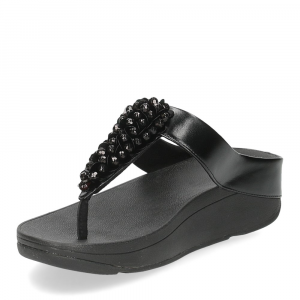 Fitflop Fino Sequin toe thongs all black-4