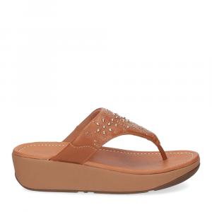 Fitflop Mya Floral stud toe thongs light tan-2