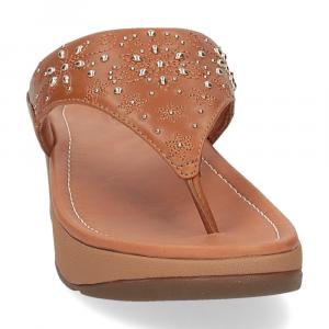 Fitflop Mya Floral stud toe thongs light tan-3