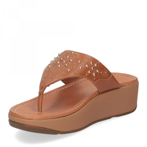 Fitflop Mya Floral stud toe thongs light tan-4