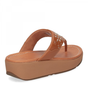 Fitflop Mya Floral stud toe thongs light tan-5
