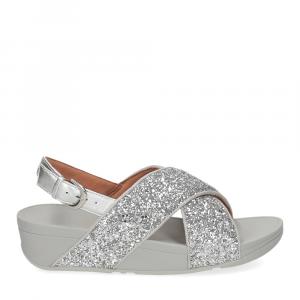 Fitflop Lulu glitter back strap sandals silver-2