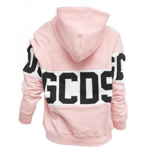GCDS - FELPA IN COTONE LOGATA CON CAPPUCCIO - COL. ROSA