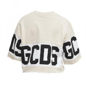 GCDS - T-SHIRT CORTA CON BANDA LOGO - COL. AVORIO