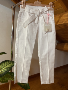 Pantalone Bianco Bambina Vicolo con fiocco