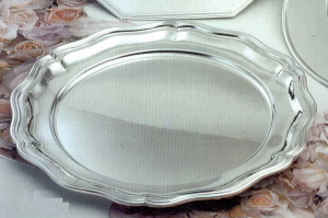 Sottopiatto tondo, placcato argento, stile 700