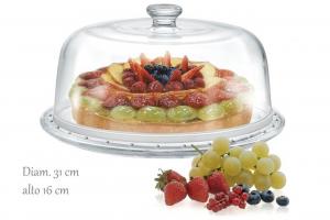 Piatto torta in vetro trasparente con cupola in vetro trasparente