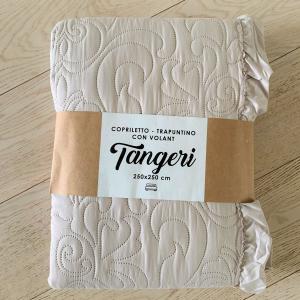Copriletto estivo Tangeri tortora con voilant
