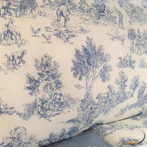 Completo Lenzuola Toile de jouy blu