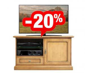 Mueble tv bajo 1 puerta 1 cajón y compartimentos abiertos - OFERTA