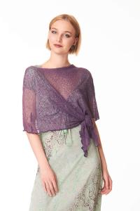 Women's purple aubergine cape |  Casual chic accessory