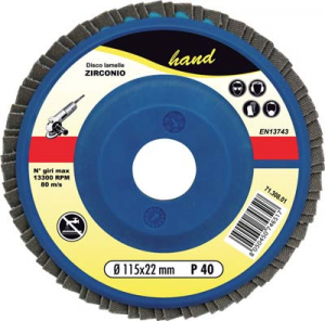 DISCO A LAMELLE RADIALI HAND ZIRCONIO MM 115X22,2 GRANA 100