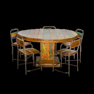 Tavolo rotondo in legno di teak recuperato dalle vecchie imbarcazioni