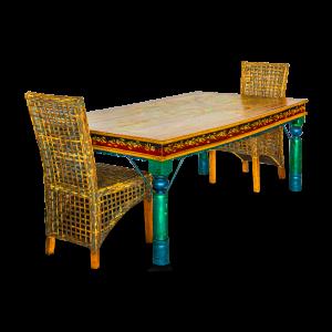 Tavolo dipinto in legno di acacia indiano