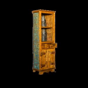 Libreria canoa / Credenza alta con ripiani ed ante in legno recuperato di teak