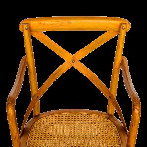 Sedia con braccioli in legno di teak con seduta intreccio rattan naturale