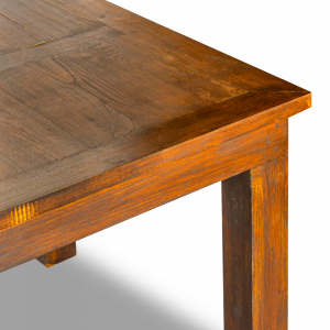 Tavolo allungabile con prolunga centrale a scomparsa in legno di teak balinese finitura