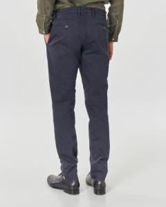 Pantalone chino blu in tricotina di cotone stretch