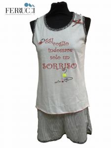GABRIELLA FERRUCCI, BASKET. Pigiama donna corto, Canotta + Pantalone corto Cotone