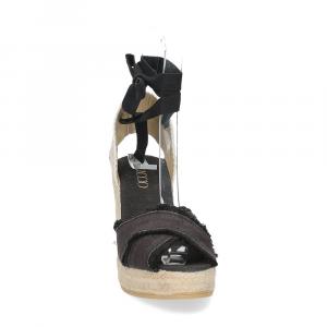 Il Laccio Sandalo espadrillas astra tessuto nero-3