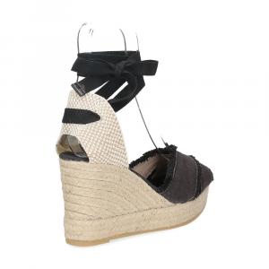 Il Laccio Sandalo espadrillas astra tessuto nero-5