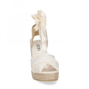 Il Laccio Sandalo espadrillas astra tessuto bianco-3