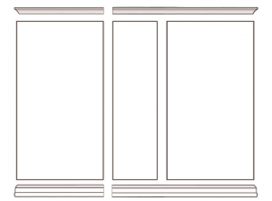 Wall unit with glass doors and shelves