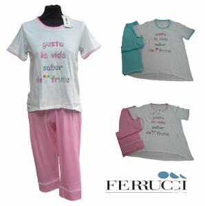 GABRIELLA FERRUCCI, BARBARA. Pigiama donna, Mezza manica + Pinocchietto. Cotone.