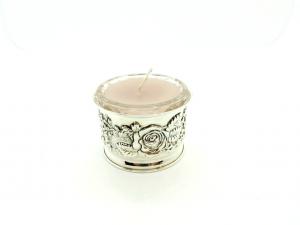 Porta candela Argento 800 sbalzato a mano.