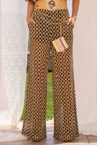 SHOPPING ON LINE PHO FIRENZE PANTALONE PALAZZO IN TESSUTO RACHEL CON FRANGE NEW COLLECTION WOMEN'S SPRING SUMMER 2021