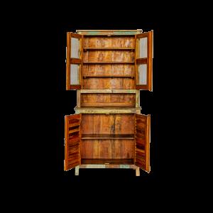 Credenza con vetrina in legno recuperato di teak indiano