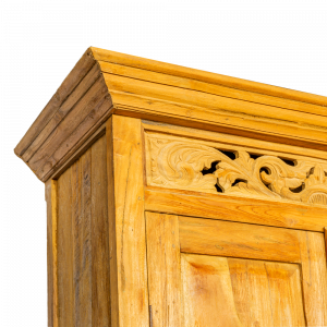 Credenza / Armadio con ante intagliate e chiusura artigianale in legno di teak